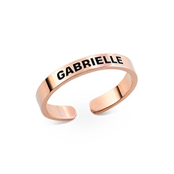 Open Adjustable Engraved Name Ring in Rose Gold Plating product photo