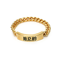 Engraved Name Link Ring in Gold Vermeil product photo