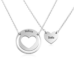 Mother Daughter Heart Necklace Set in Silver product photo