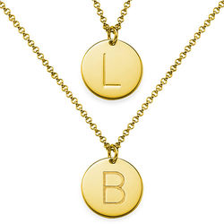 2 Initial Charm Necklaces in Gold Plating product photo