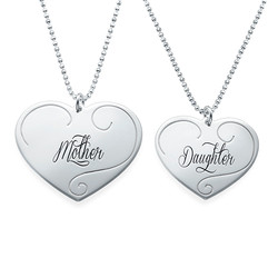 Engraved Heart Pendants - Mother Daughter Jewelry product photo