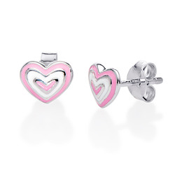 Pink Heart Earrings for Kids product photo