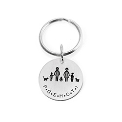 Custom Engraved Initials Keyring in Sterling Silver product photo