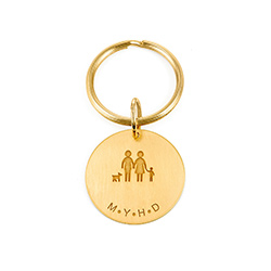 Custom Engraved Initials Keyring in Gold Plating product photo