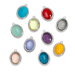 Glass Stones with Silver Lining product photo