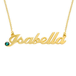 Gold Vermeil Birthstone Crystal Name Necklace product photo