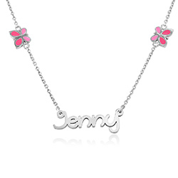 Butterfly Girls Name Necklace in Sterling Silver product photo