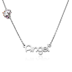 Unicorn Girls Name Neckalce in Sterling Silver product photo