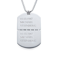 Personalized Sterling Silver Dog Tag Necklace for Men product photo