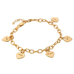 Link Bracelet with Heart Charms in Gold Vermeil product photo