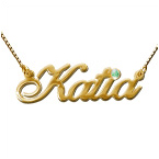 14ct Gold and Swarovski Crystal Name Pendant