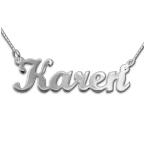 14ct Solid White Gold Script Name Necklace