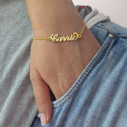 "18ct Gold-Plated Silver ""Carrie"" Name Bracelet - 2"