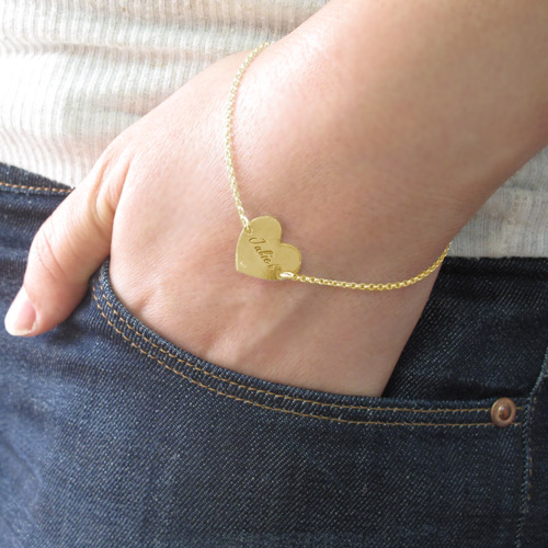 18ct Gold Plated Engraved Couples Heart Bracelet - 3