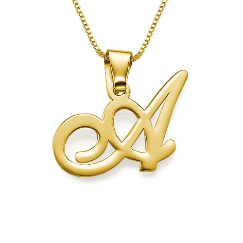 18ct gold plated initials pendant with any letter for Letter c gold pendant