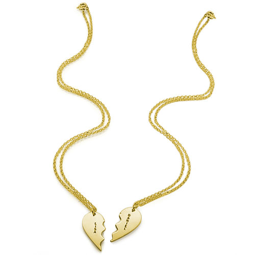 18ct Gold Plated Silver Breakable Heart Necklace - 1
