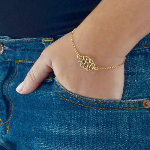18ct Gold Plated Silver Monogram Bracelet / Anklet - 2