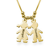 Gold Plated Mum Necklace with Engraved Kids Charms