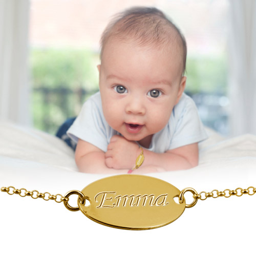 18ct Gold-Plated Silver Personalised Baby Bracelet - 2