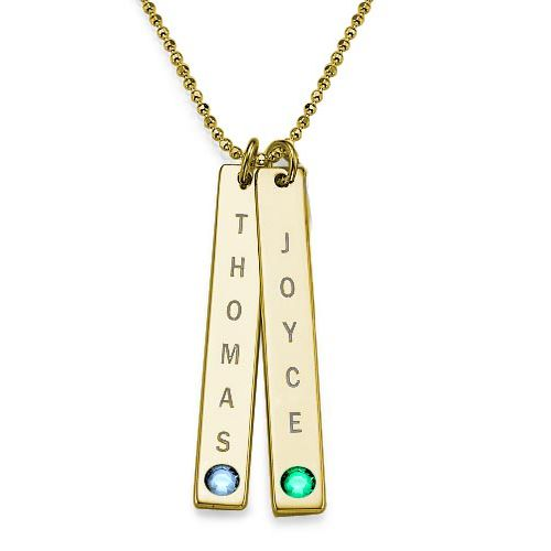 18ct Gold Plated Bar Necklace with Swarovski Stone