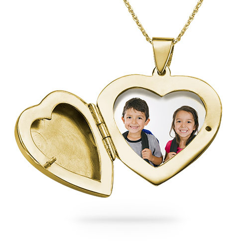 18ct Gold plated Engraved Heart Locket Necklace - 1