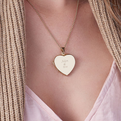 18ct Gold plated Engraved Heart Locket Necklace - 3