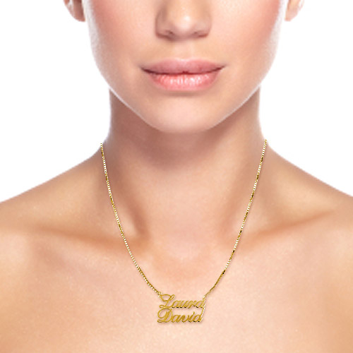 18ct Gold-Plated Silver Two Names Pendant Necklace - 1