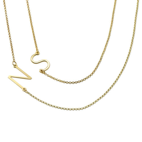 18ct Gold Plated Sideways Initial Necklace - 1