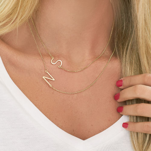 18ct Gold Plated Sideways Initial Necklace - 2