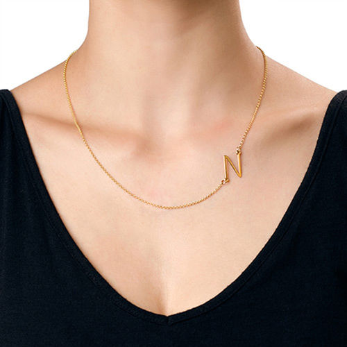 18ct Gold Plated Sideways Initial Necklace - 3
