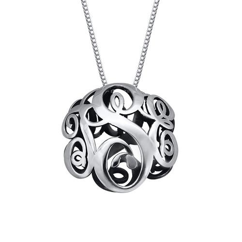 3D Silver Monogram Necklace