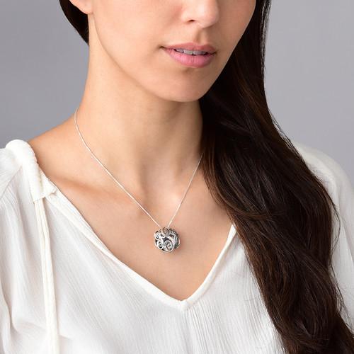 3D Silver Monogram Necklace - 2