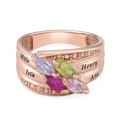 4 Stone Mother Ring - Rose Gold Plated