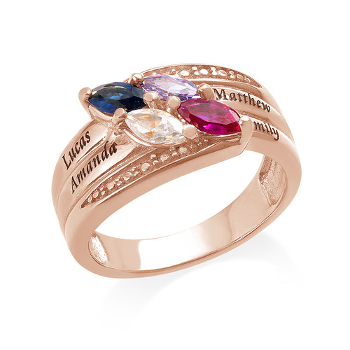 4 Stone Mother Ring - Rose Gold Plated - 1