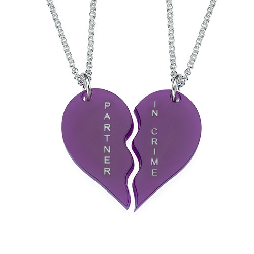 Acrylic Broken Heart Necklaces for couple - 1