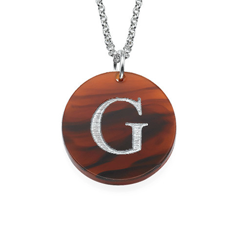 Acrylic initial disc necklace mynamenecklace uk for Acrylic letter necklace