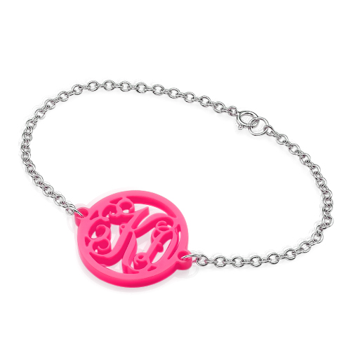 Acrylic Monogram Bracelet with Silver Chain - 2