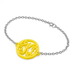 Acrylic Monogram Bracelet with Silver Chain