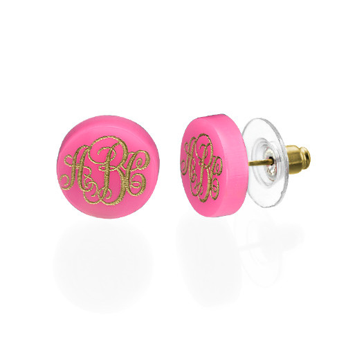 Acrylic Monogram Stud Earrings - 1