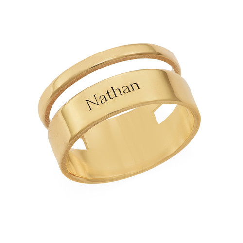 Asymmetrical Name Ring with Gold Plating