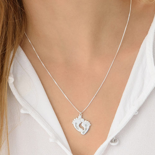 Baby Feet  Sterling Silver Diamond Necklace - 2