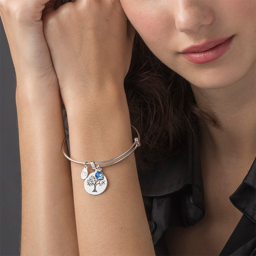 Bangle Bracelet with a Family Tree Charm - 3