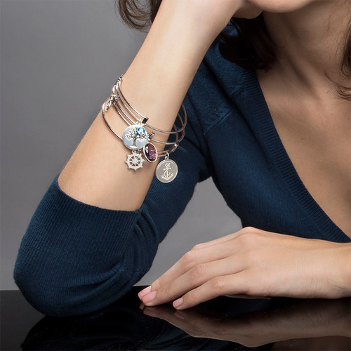 Bangle Bracelet with a Family Tree Charm - 4