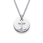 Baptism Gifts - Engraved Disc Necklace with Cross Charm