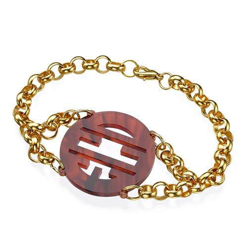 Bracelet with Acrylic Monogram Pendant