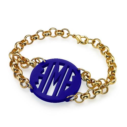 Bracelet with Acrylic Monogram Pendant - 2
