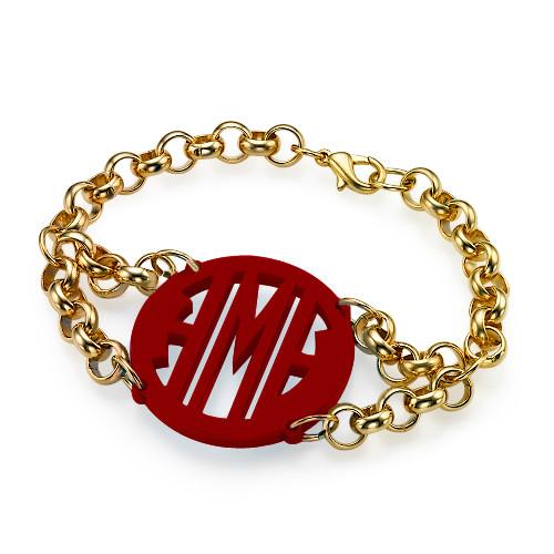 Bracelet with Acrylic Monogram Pendant - 3
