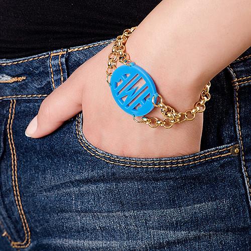Bracelet with Acrylic Monogram Pendant - 4