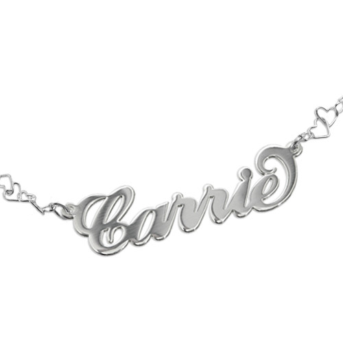 Carrie Style Name Bracelet With a Heart Chain - 1