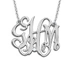 Celebrity Monogram  Sterling Silver Diamond Necklace